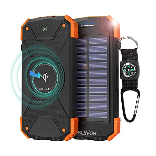 BLAVOR Cargador Solar Movil 10000 mAh Qi Banco de Energía Batería Externa Portátil Tipo C Puerto de Entrada Linterna Dual, Brújula, A Prueba de Salpicaduras a Prueba de Polvo, DC5V / 2.1A