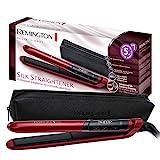 Remington Silk S9600 - Plancha de Pelo, Cerámica, Digital, Placas Flotantes Extralargas, Rojo, Resultados Profesionales, Rojo