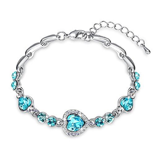Yellow Chimes Blue Metal Cz Charm Bracelet for Women