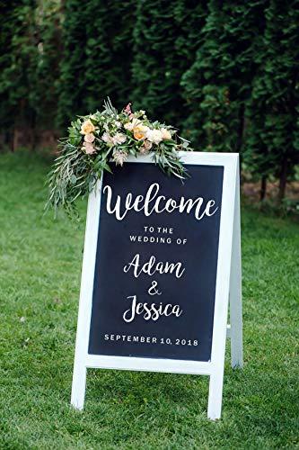 zzlfn3lv Custom Wedding Sign Decal Benvenuto al Matrimonio Nomi e Data Personalizzati Segnaletica...