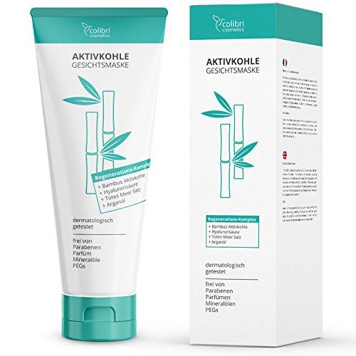 Aktivkohle Gesichtsmaske mit Totes-Meer-Salz - Reinigt die Poren und verwöhnt das Gesicht - Detox Tiefenreinigung Maske zur Entgiftung der Haut - 150 ml von colibri cosmetics - Made in Germany