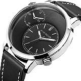 EASTPOLE Men's Dual Time Zone Quartz Sport Leather Band Luxury Wrist Watch Business Gift WMB001