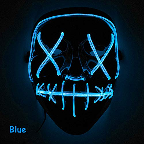 Leoie Scary Halloween Mask LED Light Up Mask for Festival Cosplay Halloween Costume Navy Blue