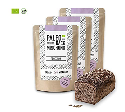 Organic Workout PALEO-BROT-BACKMISCHUNG 3er Pack | 100{23b188fb4e780487e2243b0efa3ec1d5eb5c21e9ad598068195c5f88fedc14f0} Bio | gluten-frei | lower-carb | Eiweiss-Brot | clean-eating | Fitness-Brot | hefefrei | ohne Getreide | hergestellt in Deutschland