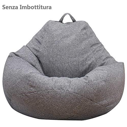 Dandelionsky Copertura con Cerniera Maniglia per Poltrona a Sacco Copri Lazy Bag Potatile in Tessuto Morbido Lavabile (Grigio, 100x120 cm)