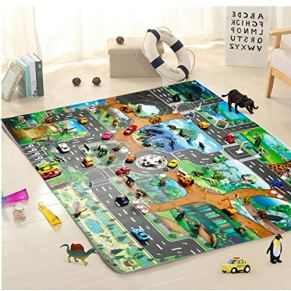 Fantiff Kids Map Taffic Animal Play Mat Baby Road Carpet Decoración para el hogar Juguete educativo Juguetes 130 x 100 cm