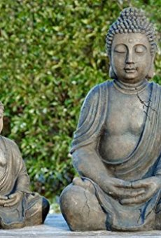 Buda figura de Buda figura decorativa Escultura – altura 30 cm color antracita