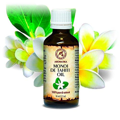 Olio di Monoi di Tahiti 50ml - 100% Naturale e Puro - Cura Intensiva per Viso - Capelli - Pelle - Mani - uso Puro per Aromaterapia - Relax - Massaggi - Cura del Corpo - Ingredienti di Qualità