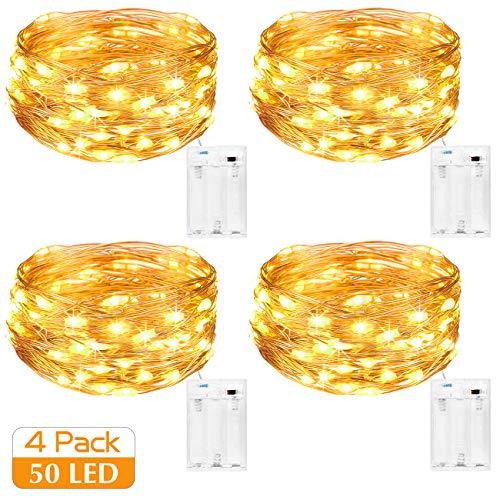 Kolpop Stringa Luci LED a Batteria [4 Pezzi], Catena Luminosa 5m 50 LED con Filo Rame Ghirlanda...
