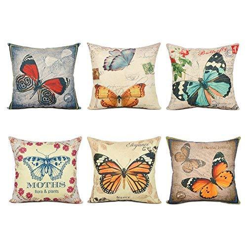Top finel Hogar 6 Cojines mariposa patrón lino algodón fundas almohada decorativa para camas sofás sillas cuadrado 45X45cm serie