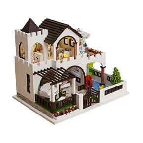 Casa de muñecas en miniatura Casa de muñecas de madera con muebles de luz led en miniatura artesanía bricolaje proyecto de artesanía kit villa modelo de juguete Juguetes de madera modelo de construcci