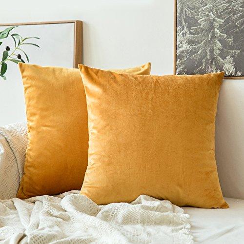 MIULEE Confezione da 2 Federe in Velluto Copricuscini Decorativi Fodere Quadrate per Cuscino per Divano Camera da Letto Casa Auto 40X40cm d'oro