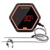 Inkbird Barbeque Fleisch Thermometer Digitale Bluetooth BBQ Raucher Funk-Grillthermometer Timer mit Temperaturfühlern für Ofen Kochen Outdoor Grill (Orange thermometer+2 Temperaturfühlern)