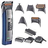 BaByliss E836XE - Kit de corte de pelo, multigroom, maquinilla eléctrica para cabello y barba, cortapelos hombre, perfilador, cabezal para nariz y orejas, red + recargable, blanco
