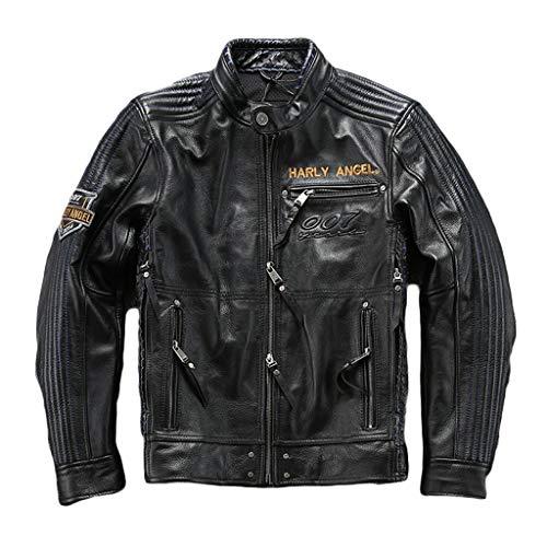 Mens Leather Jacket Uomo Autunno Inverno Moto Giacca in Pelle Genuine Uomini Neri di Corsa del Motociclista Cappotto Moto Chopper Harley Style Top Impermeabile,Black-L