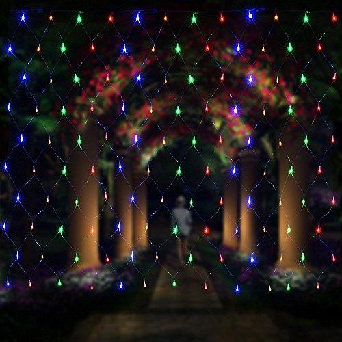 Salcar - Rete di luci a LED, 3 x 2 m, per Natale, feste, interni, 8 programmi di cambio luci (RGB)