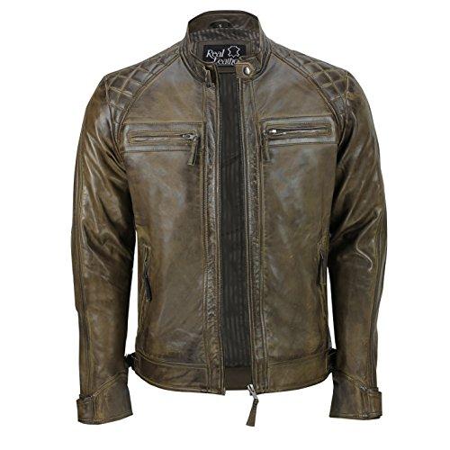 Xposed, giacca da uomo con cerniera, in vera pelle morbida, nera, vintage, alla moda, casual, stile motociclista Brown XXX-Large