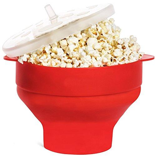 JBNEG Microondas palomitas de maíz Popper de silicona con mangos, Popcorn Popper Bowl, rojo