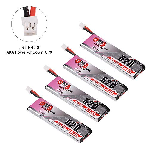 4 Pezzi 520mAh 1S Batteria LiPo 3.8V Batteria LiCo 80C HV JST-PH 2.0 Connettore MCPX PowerWhoop per...