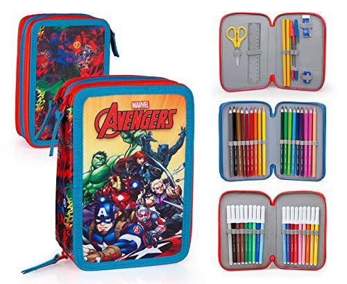 Marvel Avengers 63234 Astuccio Triplo Riempito, 44 Accessori Scuola, 20 Centimetri