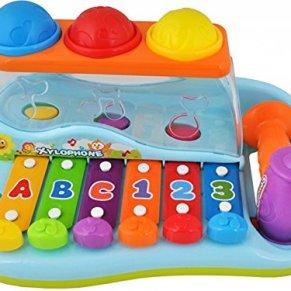 ISO TRADE Xilófono de música Colorido con Martillo - Glockenspiel Teclado pequeño para niños con Bolas #1386