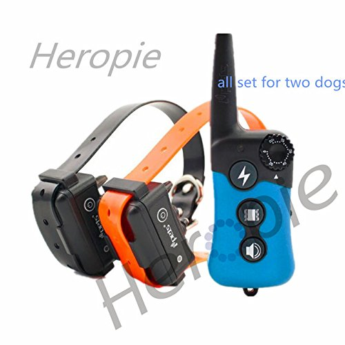 Petsdelite for Two Dogs, EU: Heropie 300M Dog Trainer Waterproof Rechargeable Remote Pet Dog Training Collar Electric Shock Contro