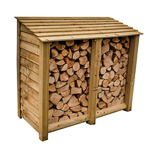 The top pick overall, this log store is sturdily built and sure to last many years to come, thanks to pressure-treated timber. It can hold an impressive 1 cubic metre of logs, making it a good choice for an average UK home and features such as the raised slatted base and lower back panel all ensure wood is seasoned in the shortest time possible.