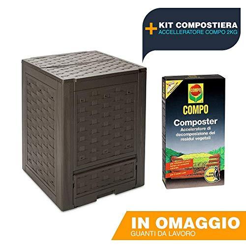 BUYSTAR Kit COMPOSTIERA Toomax Contenitore Rattan Line Cm 60x60x83, più Compo Accelleratore di...