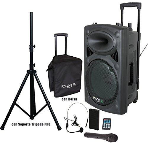 """Ibiza Sound PORT15VHF-BT Altavoz 15"""" Bluetooth con Batería + Bolsa Protección + Soporte Tripode Pro"""