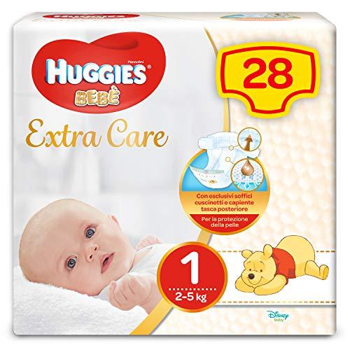 Huggies Bebè Pannolini, Taglia 1 (2-5 kg), Confezione da 28 Pannolini