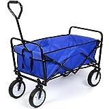 HOMFA Bollerwagen faltbar Transportwagen Handwagen Transportkarre Gartenwagen Faltwagen Strandwagen bis 80KG Vorderräder 360° drehbar 90x52x64cm Blau