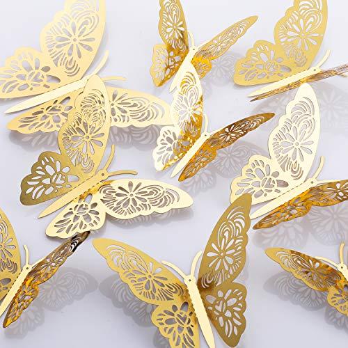 MWOOT 48 pezzi 3D farfalle adesivi da parete, (d'oro/argento) sticker decorativi da parete per la...