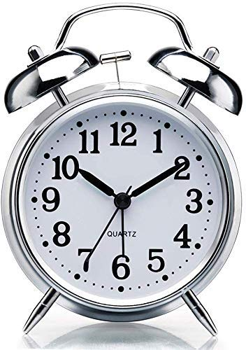 VN Stores Vintage Look Twin Bell Table Alarm Wind-Up Clock with Night Led Light (Design 1)