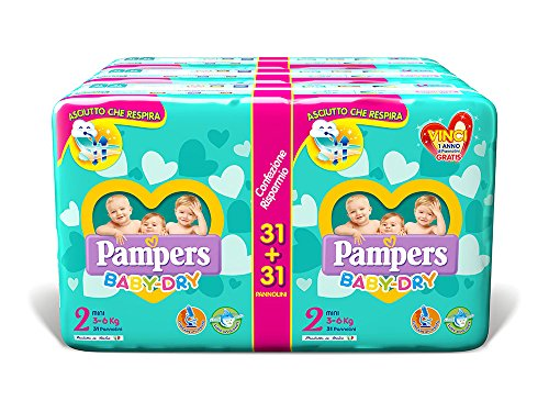 Pampers Baby Dry Duo Mini, 186 Pannolini, Taglia 2 (3-6 kg)