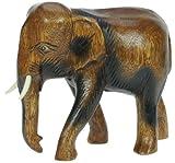 Namesakes Elefante de madera - tallado a mano en madera - estatuilla - escultura - talla hermosa - decoración para el hogar - altura de talla 19 cm