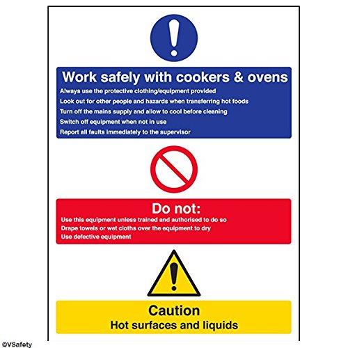 vsafety 44003bc-s obbligatoria ristorazione Sign, Autoadesivo,lavoro sicuro con piani cottura e...