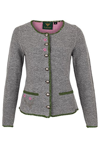 Damen h.moser Salzburg Damen Trachtenstrickjacke grau rosa, 0465 Grau, 46