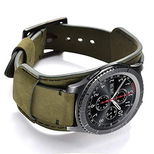 Coobes Compatibile con Samsung Galaxy Watch 46mm/Gear S3 Frontier/Classic Cinturino, in Vera Pelle Bracciale 22mm Cinturini Ricambio Fibbia in Acciaio Inossidabile per Uomo Donna (22mm, Verde)