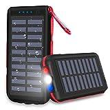Batterie Externe Chargeur Solaire 25000mAh Portable Power Bank, Imperméable,avec 3 Ports de Sortie Lampe de Poche LED et Lampe D'avertissement SOS pour Les Activités de Plein Air.
