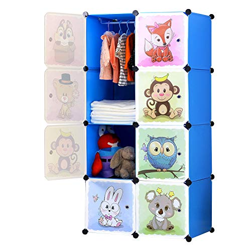 BRIAN & DANY Armadio Modulare Bambini, Portatile Guardaroba, Armadietto in Moduli Plastici, 8 Cubo,...