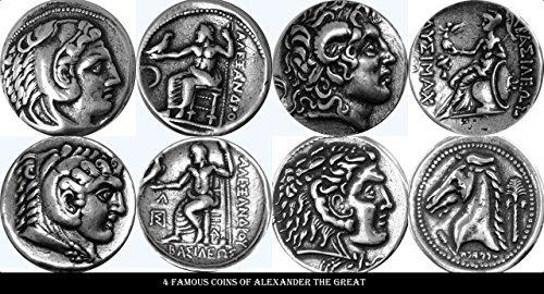 Golden Artifacts Alexander el Gran, 4 Monedas, Griego Dioses y diosas Colección (alex4-s)