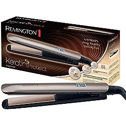 Remington Piastra per Capelli Keratin Protect S8540, Ceramica Infusa di Cheratina e Olio di Mandorle, Voltaggio Universale, Marrone dorato