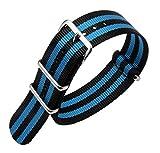 20 millimetri in un unico pezzo cinturini per orologi stile NATO nylon Perlon degli uomini squisiti del nero / azzurro di lusso strisce di tessuto