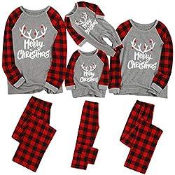 K-Youth Ropa para Padres e Hijos Pijamas Familiares Navideñas Pijamas de Navidad Familia Conjunto Bebe Niño Navidad Ropa de Dormir Mujer Hombre Mameluco Bebé Recien Nacido Niña (Niños, 7-8 años)