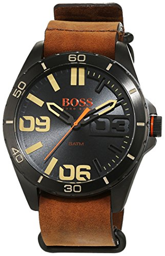 Hugo Boss Orange Herrenarmbanduhr Quartz Analog mit braunem Lederarmband 1513316