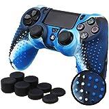 Pandaren® BORCHIE silicone custodie cover pelle antiscivolo per PS4 controller x 1 (camuffamento blu) + FPS PRO thumb grips pollice prese x 8