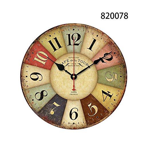 TOPmountain Orologio da Parete Rotondo Stile Vintage 12cm Orologio da Parete Decorativo Antico MDF Orologio al Quarzo Silenzioso Orologio Decorativo da Salotto - 820078