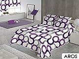 Sabanalia - Colcha Aros (disponible en varios tamaños y colores), Cama 90 - 180 x 280, color lila