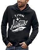PIXEL EVOLUTION Sweat à Capuche Football Lyon Homme - Taille XL - Noir