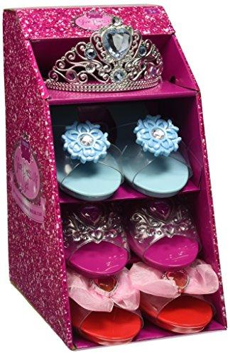 Girls Pink Pretty Princess Shoes Diamante Dress Up Fancy Gift Set (Set of 3 Shoes & Blue Tiara)